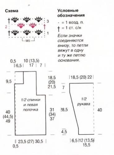 Узор и схема для кофты из мохера спицами
